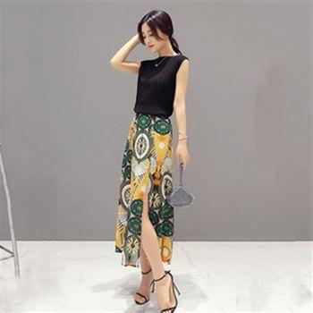 【Jisen】柔情伊人 無袖超顯瘦 ( 上衣 + 長裙 ) 套裝組 ( 黃 / 黑 ) 2色選 M ~ XL