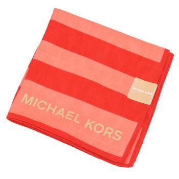 MICHAEL KORS雙色橫紋帕巾(紅粉)
