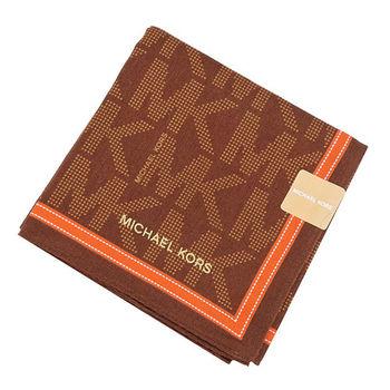 MICHAEL KORS滿版MK LOGO邊框帕巾(巧克力橘)