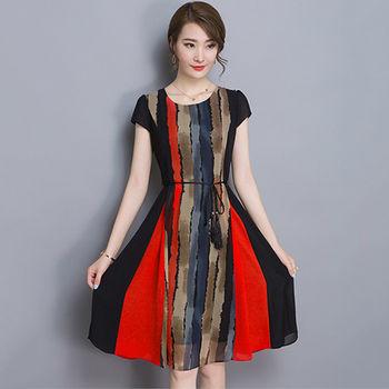 【Jisen】深情相遇 條紋雪紡 極致修身顯瘦 洋裝 M / L / XL / 2L