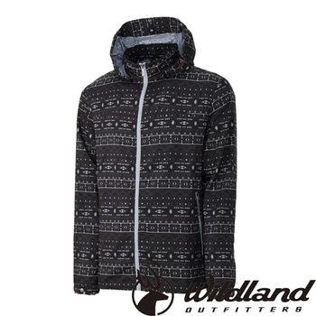 【荒野wildland】男彈性印花抗UV輕薄外套 深灰色 (0A31998-93)