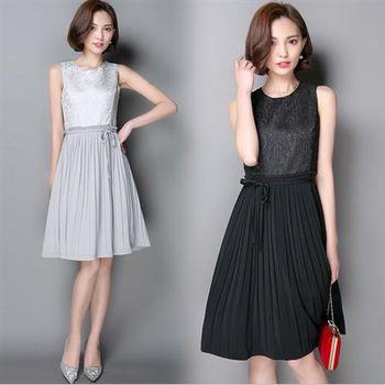 【Jisen】熠熠閃耀 顯瘦版型百褶洋裝 ( 灰 / 黑 ) 2色選 M / L / XL
