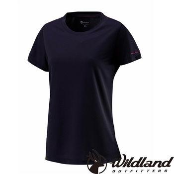 【荒野wildland】女疏水纖維圓領排汗衣 黑色 (W1623-54)