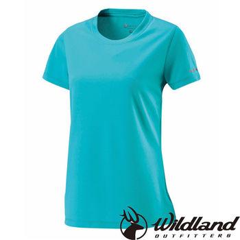 【荒野wildland】女疏水纖維圓領排汗衣 湖水綠 (W1623-67)