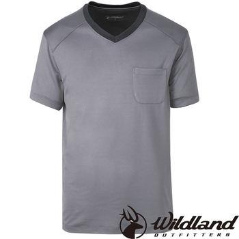【荒野wildland】男V領咖啡紗抗菌抗UV上衣 灰色 (0A31620-90)