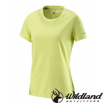 【荒野wildland】女疏水纖維圓領排汗衣 檸檬黃 (W1623-34)