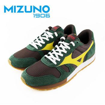【Mizuno 美津濃】  Mizuno 1906 限量 女休閒款慢跑鞋 (墨綠X黃) D1GA160036