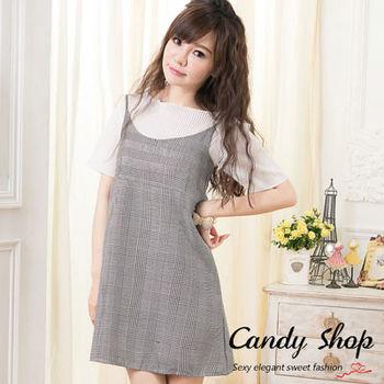 Candy小舖 小清新氣質甜心 壓褶上衣格子裙套裝