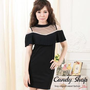 Candy 小舖 雪紡微透膚 露肩皺褶 雪紡短洋裝 ( 白 / 黑 / 深粉 ) 3色選