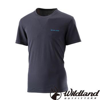 【荒野wildland】男疏水纖維圓領排汗衣 黑色 (W1626-54)