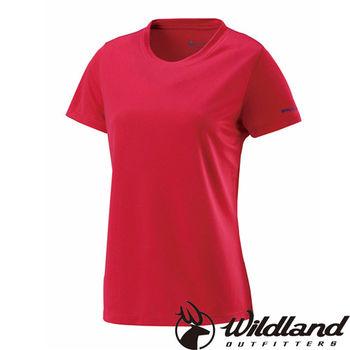 【荒野wildland】女疏水纖維圓領排汗衣 玫瑰紅 (W1623-20)