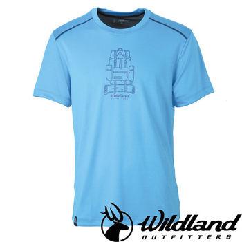 【荒野wildland】男印花咖啡紗抗菌抗UV上衣 中藍色 (0A31618-77)