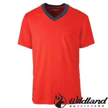 【荒野wildland】男V領咖啡紗抗菌抗UV上衣 橘紅色 (0A31620-13)