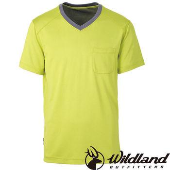 【荒野wildland】男V領咖啡紗抗菌抗UV上衣 芥末黃 (0A31620-40)