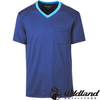 【荒野wildland】男V領咖啡紗抗菌抗UV上衣  深藍色 (0A31620-72)