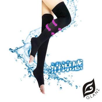 GLANZ格藍絲 台灣製280丹清涼感夜寢強效型美腿襪(午夜黑)