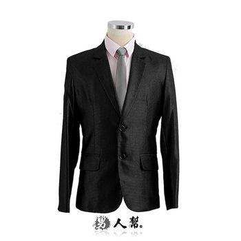 【男人幫】M-3XL明日之星黑色閃耀立體光點雙扣西裝外套(C5306)