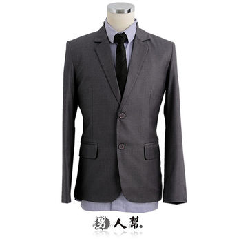 【男人幫】M-2XL雅痞型男成熟風灰色雙扣條紋西裝外套(C5318)