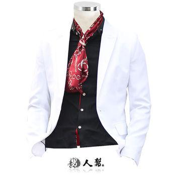 【男人幫】S-3XL韓風輕熟男窄版白色單扣西裝外套(C5322)