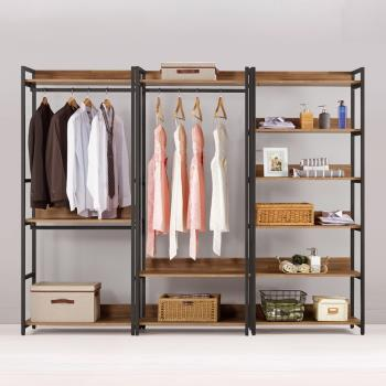 Bernice-諾德8尺開放式組合衣櫃(雙吊+單桿+多層收納)
