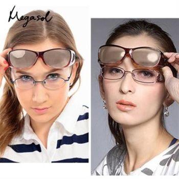 【MEGASOL】UV400偏光外掛式側開窗防藍光太陽眼鏡(可看3C可夜視款MR3009)