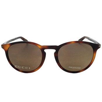 【GUCCI 太陽眼鏡】琥珀復古圓框-偏光款(GG1125FS-8E2)