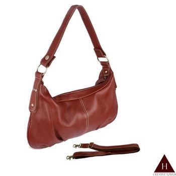 【H-CT】紅棕彎型設計款兩用真皮斜背手提包(QP6625)