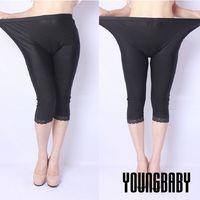 ~YOUNGBABY中大碼~布面直紋顯瘦包臀下蕾絲光澤薄七分褲.黑