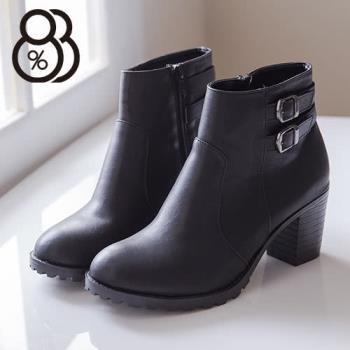 【88%】質感皮革 拉鍊粗高跟短靴 馬丁靴 時尚流行金屬扣環 2色