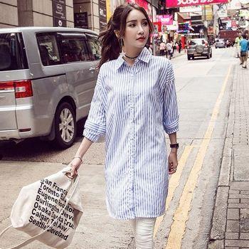【理子時尚】韓風翻領直條紋寬鬆長版襯衫