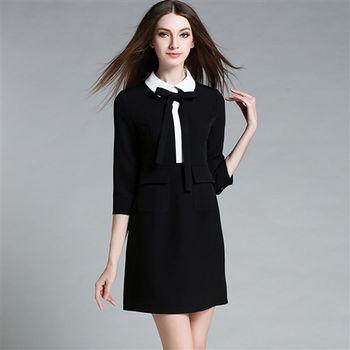 【M2M】翻領學院風七分袖連衣裙