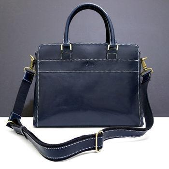 Sika義大利時尚牛皮復古品味公事包M6163-06清玉藍