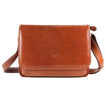 Sika義大利時尚復古英倫悠閒書包M6077-01原味褐