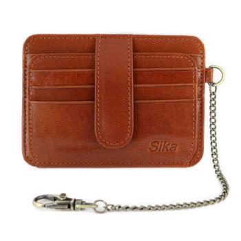 Sika義大利時尚素面極簡風短皮夾A8240-01原味褐