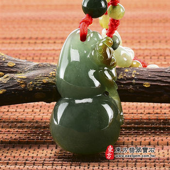 【東方翡翠寶石】葫蘆有福A貨天然翡翠花件吊墜(油青帶紅翡種) FW017