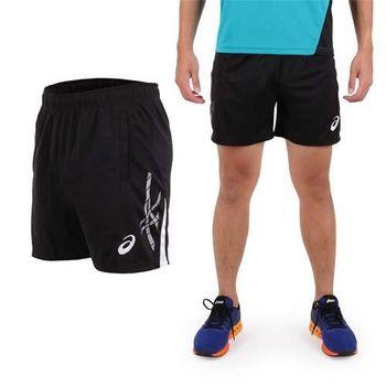【ASICS】男針織短褲- 慢跑 路跑 亞瑟士 黑白  電鏽LOGO