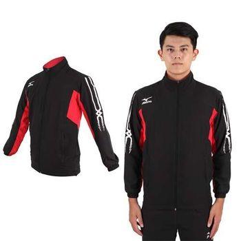 【MIZUNO】男平織運動外套- 慢跑 路跑 立領 美津濃 黑紅白  網布內裡