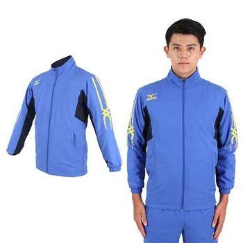 【MIZUNO】男平織運動外套- 慢跑 路跑 立領 美津濃 藍黃  網布內裡