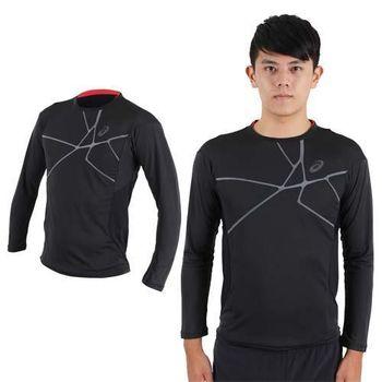 【ASICS】男慢跑長袖T恤- 訓練 健身 路跑 亞瑟士 黑灰紅  背面反光設計LOGO