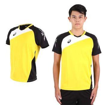 【ASICS】男運動排汗短T恤 -慢跑 羽球 排球 黃黑  100%聚脂纖維