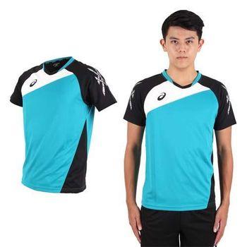 【ASICS】男運動排汗短T恤 -慢跑 羽球 排球 湖水綠黑  100%聚脂纖維