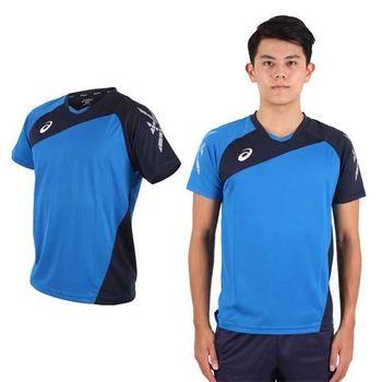 【ASICS】男運動排汗短T恤 -慢跑 羽球 排球 藍丈青  100%聚脂纖維