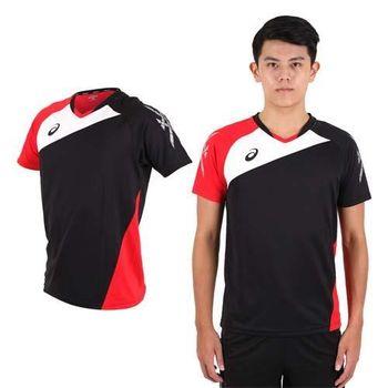 【ASICS】男運動排汗短T恤 -慢跑 羽球 排球 黑紅白  100%聚脂纖維