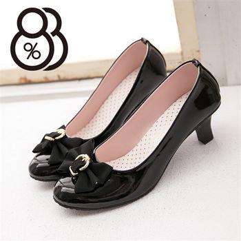 【88%】OL百搭必備款 緞帶蝴蝶結 亮皮6CM高跟鞋(2色)