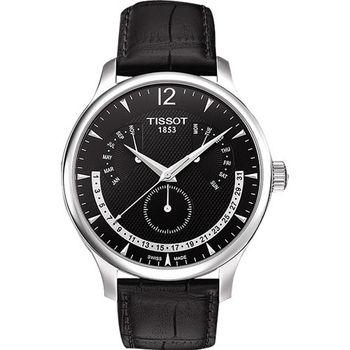 TISSOT Tradition 逆跳復刻經典腕錶-黑/42mm T0636371605700