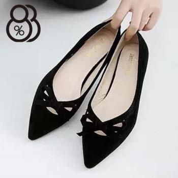 【88%】典雅絨布簍空蝴蝶結芭蕾款尖頭鞋 尖頭平底包鞋 娃娃鞋(2色)
