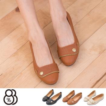 【88%】OL實搭術 鈕釦拼接拉鍊 舒適好穿 圓頭平底鞋 娃娃鞋(3色)