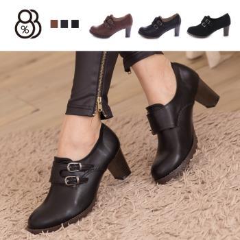 【88%】韓版質感皮革 舒適魔鬼氈穿脫 舒適粗高跟 牛津踝靴短靴 2色