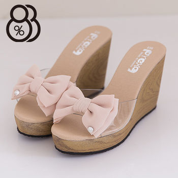 【88%】台灣製 甜美系透視透明感魚口鞋楔型厚底增高露趾 雪紡蝴蝶結拖鞋  2色