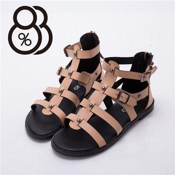 【88%】真皮質感 羅馬一字涼鞋 後拉鍊低跟粗跟涼鞋 真皮超耐穿(2色)